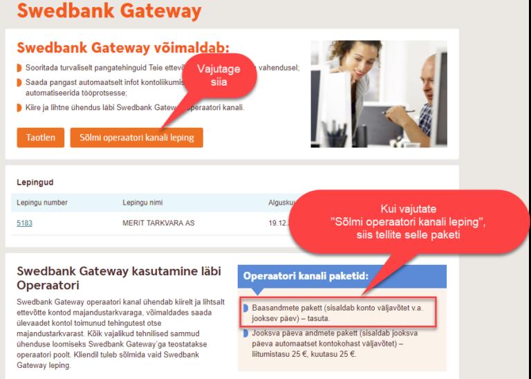 Merit Aktiva otseühendus Swedbankiga