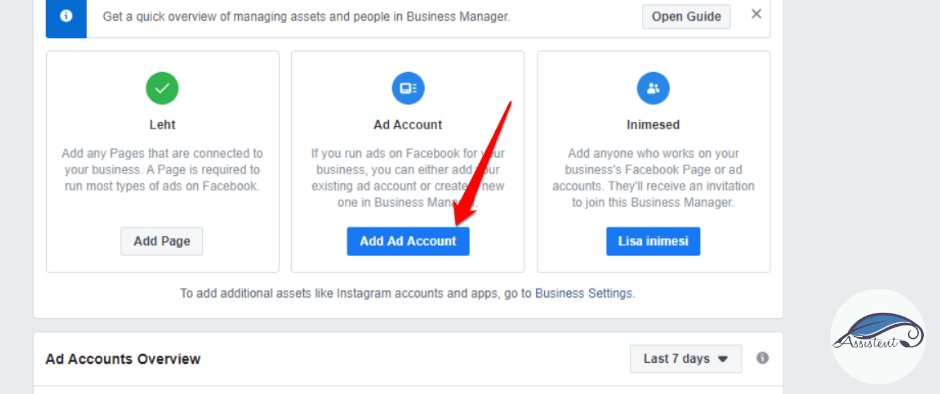 Facebook Ads Manager Add AD account - info@assistent.ee
