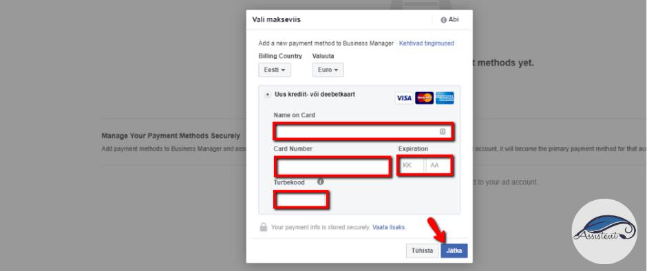 Facebook Ads Manager kaardi andmed - info@assistent.ee