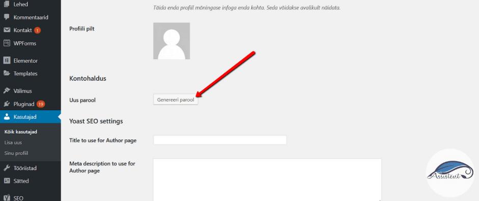 WordPress genereeri parool - info@assistent.ee +372 5680 0084