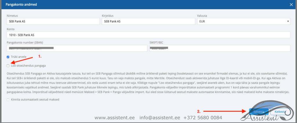 SEB pank - info@assistent.ee +372 5680 0084