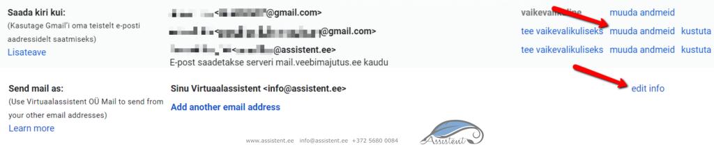 Gmaili seadistamine - info@assistent.ee +372 5680 0085
